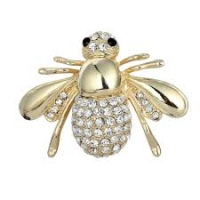 Gold Rhinestone Brooch
